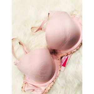 PINK Victoria's Secret Floral Pushup Lace Bra✨36C
